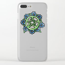 Pagan Floral Pentagram Clear iPhone Case