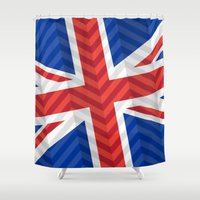 uk Shower Curtains featuring UK Flag by m. arief (mochawalk)