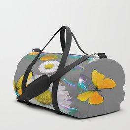 YELLOW BUTTERFLIES  DAISIES & SOAP BUBBLES GREY COLOR Duffle Bag