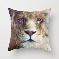 kim sy ok Throw Pillows featuring Lion // Majesty by Amy Hamilton