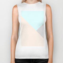 Pastel blue gray color block triangles geometrical Biker Tank