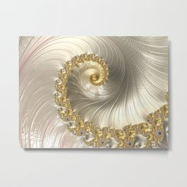 Gold and Pearl Fractal Swirl Metal Print