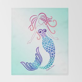 Tribal Mermaid with Ombre Turquoise Background Throw Blanket