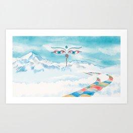 Watercolor Illustration of Buddha wisdom eyes and prayer flags among Himalayas Art Print