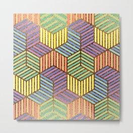 Colorful golden cubes Metal Print