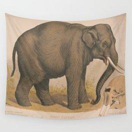Vintage Elephant Illustration (1874) Wall Tapestry