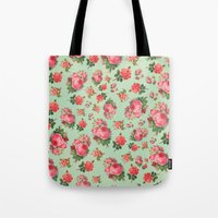 floral pattern Tote Bags featuring FLORAL PATTERN by Allyson Johnson