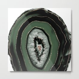 Green Black Agate with Gold Glitter #1 #gem #decor #art #society6 Art Metal Print