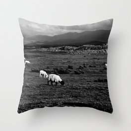 Sheep and Mountains, Inch Beach, Dingle Peninsula Throw Pillow
