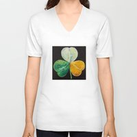 irish V-neck T-shirts featuring Irish Shamrock by Michael Creese
