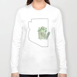 arizona // watercolor saguaro flower state flower map Long Sleeve T-shirt