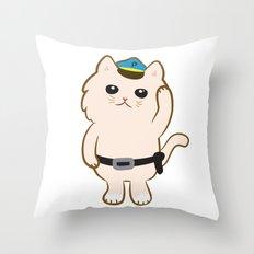 Animal Police - Cream cat Throw Pillow