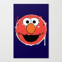 elmo Canvas Prints featuring Elmo splatt by Firepower