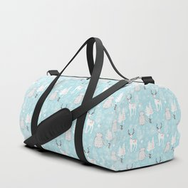 From Mice Bears Deers And Christmas - Cute teal X-Mas Pattern Duffle Bag