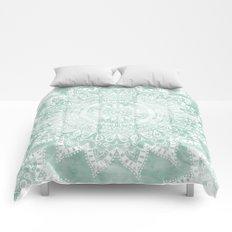 BOHEMIAN FLOWER MANDALA IN TEAL Comforters