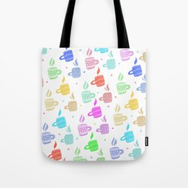 Modern pastel winter holidays coffee hand drawn pattern Tote Bag