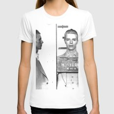 Bowie, David Mugshot (1976) Rochester, N.Y. White Womens Fitted Tee X-LARGE