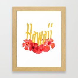 Hawaii Text With Aloha Hibiscus Garland Framed Art Print