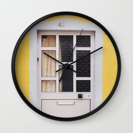 yellow wall with grey glass door in Lisbon, Portugal  | Photo Print, Travel Photography Europe Wall Clock