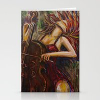 cello Stationery Cards featuring Cello Girl by Megan Bailey Gill