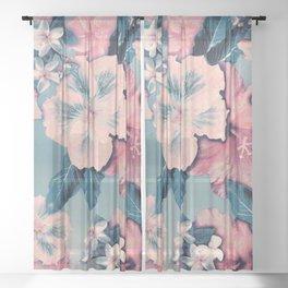Vintage Nui Loa Hibiscus Sheer Curtain
