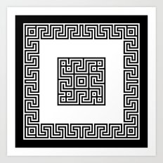 Greek Key black Art Print