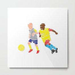 Abstract Soccer player Metal Print