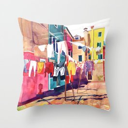 Laundry in Venice Throw Pillow