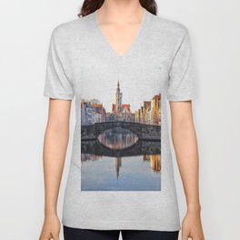 Belgium, City Canal 6 Unisex V-Neck