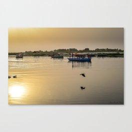 Riverbank - Calm dusky Red Canvas Print