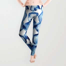 Indigo Circles Watercolor Pattern Leggings
