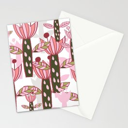 flower pink contemporary kids nursery Stationery Cards
