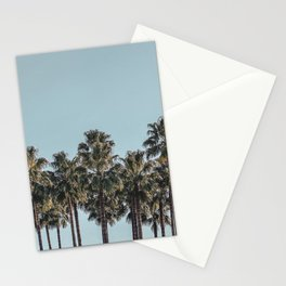 California Beach Vibes // Tropical Palm Trees Dusty Blue Sky Travel Photograph Stationery Cards