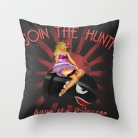 princess peach Throw Pillows featuring Princess Peach Pin Up by Head Glitch