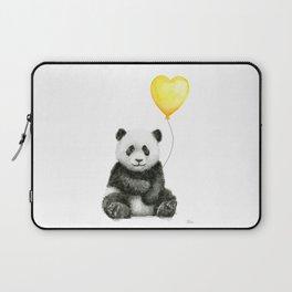 Panda with Yellow Balloon Baby Animal Watercolor Nursery Art Laptop Sleeve