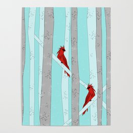 Holiday Forest Cardinals Design Poster