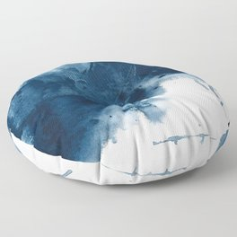 Where does the dance begin? A minimal abstract acrylic painting in blue and white by Alyssa Hamilton Floor Pillow