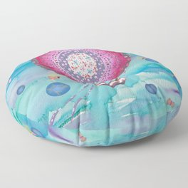 Hot Air Balloon , Sleeping Girl and Fairies Floor Pillow