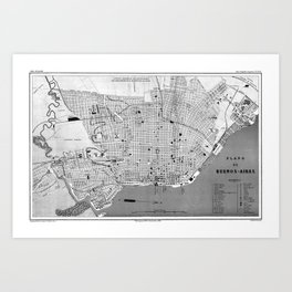 Vintage Map of Buenos Aires Argentina (1888) Art Print