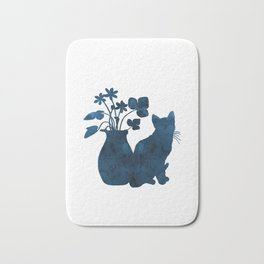 Cat And Flowers Bath Mat