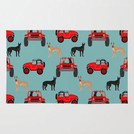 Great Dane jeep car dog breed pattern custom pet portrait Rug