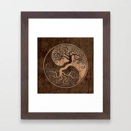 Rough Wood Grain Effect Tree of Life Yin Yang Framed Art Print