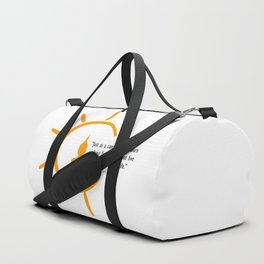 Buddha silhouette and quote inside a bright sun. Duffle Bag