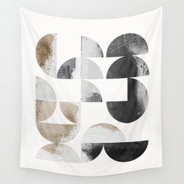 Geometrical circles/half circles in black, gray and brown Wall Tapestry