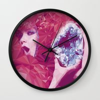 bjork Wall Clocks featuring Bjork Low Poly Collection by Giselle LowPoly