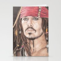 jack sparrow Stationery Cards featuring Captain Jack Sparrow by JadeJonesArt