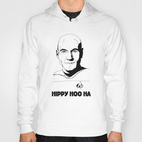 picard Hoodies featuring Jean-Luc Picard by Hippy Hoo Ha