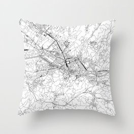 Florence White Map Throw Pillow