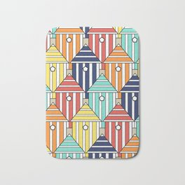 illustration beach cabins, graphic, design and colorful composition Bath Mat