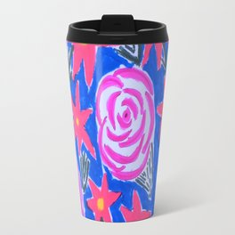 Classic Pink and Blue Floral Travel Mug